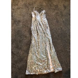 Silver sequins prom dress